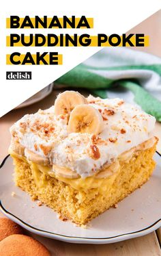 This Banana Pudding Poke Cake Is A Delish CLASSICDelish bread cake healthy muffins pudding recipes chocolat plantain recette recette Poke Cake Recipes, Poke Cakes, Cupcake Cakes, Dessert Recipes, Fun Cakes, Just Desserts, Delicious Desserts, Yummy Food, Banana Pudding Poke Cake