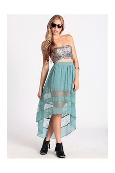 Delicate Balance High-Low Skirt in Mint Indie Outfits, Edgy Outfits, Cute Outfits, Mullet Dress, Mint Skirt, High Low Skirt, Fall Wardrobe, Strapless Dress, Summer Dresses
