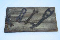 Antique Tool Mounted on Barn Board by UrbanRenewalHome on Etsy, $35.00