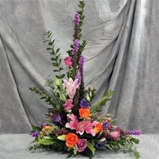 Rose and lily floral arrangement - the perfect shape