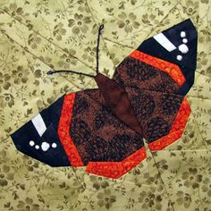 """Paper Piecing Quilt """"Red Admiral"""" Butterfly Block"""