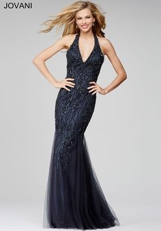 Gunmetal Grey Beaded Prom Dress 32809