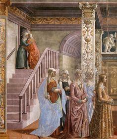 DOMENICO GHIRLANDAIO (1449 - 1494)    Birth of Mary, detail - 1486/90. Fresco   Cappella Tornabuoni, Santa Maria Novella, Florence.