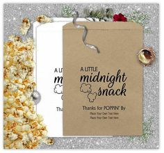 Custom Popcorn Bags A Little Midnight Snack Wedding Shower Anniversary Birthday Favors Treat Bags snacks, Popcorn Favors, Popcorn Bags, 25th Anniversary Gifts, Slumber Parties, Sleepover, Midnight Snacks, Sweet 16 Parties, Birthday Favors, Custom Bags