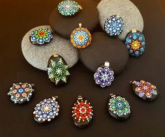 BarbaraMandalaTFS#43 FREE!!!! Mandala Pendants#Summer sale#Dont miss out#Mandala#Pendants#Hand Painted#Volcane rocks#for everybody#anytime by BarbaraMandalaTFS on Etsy