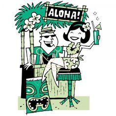 Retro Tiki Bar - looks like Derek Yaniger's work. Designed similar art for Tiki…