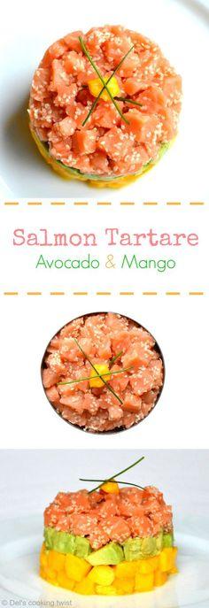 Salmon Tartare with Avocado & Mango Lachstatar mit Avocado & Mango Salmon Recipes, Fish Recipes, Seafood Recipes, Appetizer Recipes, Cooking Recipes, Healthy Recipes, Appetizers, Juice Recipes, Super Dieta
