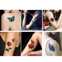 6pcs Faux Tatouage 3D Rose Temporary Tattoos Sticker On The Body Stencils For Tattoo Sleeves Adhesives Henna Tattoo Stickers