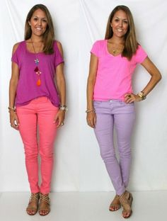 J's Everyday Fashion provides outfit ideas, budget fashion, shopping on a budget, personal style inspiration, and tips on what to wear. Capri Outfits, Bikini Outfits, Purple Pants Outfit, Pink Pants, Js Everyday Fashion, Coral Shirt, Color Blocking Outfits, Cool Outfits, Summer Outfits