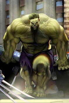 (Hulk vs Wolverine) By: Khatayev Comic Movies, Comic Book Characters, Comic Book Heroes, Marvel Characters, Comic Character, Hq Marvel, Marvel Comics Art, Marvel Heroes, Captain Marvel