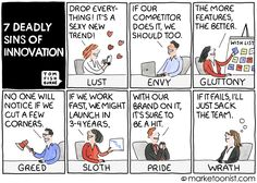 The latest cartoon from Marketoonist looks at the 7 deadly sins of innovation. Programmer Humor, Caption Contest, 7 Sins, Lean Six Sigma, 7 Deadly Sins, You Better Work, Herve, We The Best, All Is Well