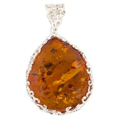 Amber and Silver Pear Shaped Pendant Necklace