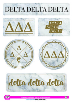 Delta Delta Delta Tri-Delta Sorority Stickers- Marble - Brothers and Sisters' Greek Store