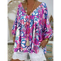 Plus Size V Neck Loose Printed Blouse – fashiontia Look Fashion, Fashion Outfits, Fashion Trends, Fall Fashion, Fashion Blouses, Fashion Hoodies, Cheap Fashion, Fashion Women, Fashion Ideas