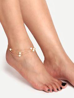Pulsera tobillera de cadena con perla falsa-(Sheinside)