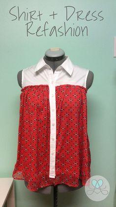 Shirt + Dress Refashion (no instructions)