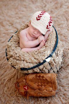 Baseball Newsboy Cap (Newborn or 0-3 months). $23.00, via Etsy.