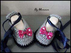 """Chaussons bébé en laine ballerines crochetés main """" les danseuses étoiles grises - bleu marine - fuchsia"""" : Mode Bébé par mamountricote"""