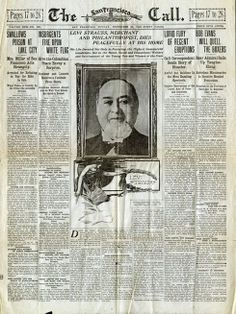 "Newspaper ""The San Francisco Call"" September 28, 1902. 'Levi Strauss died, September 26'"