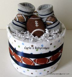 Mini Diaper Cake Sports Diaper Cake  Football by MsCarlasBabyCakes, $16.00