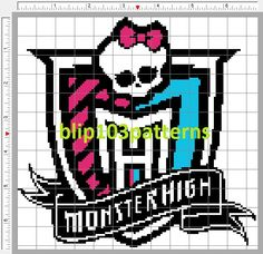 Monster High Crest Counted Cross Stitch. $3.25, via Etsy.