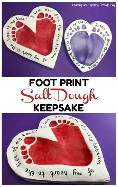Heart Foot Print Keepsake Use our super simple Salt Dough Recipe to create your very own keepsakes for yourself or someone special. The post Heart Foot Print Keepsake appeared first on Salzteig Rezepte. Grandparents Day Crafts, Mothers Day Crafts For Kids, Diy Mothers Day Gifts, Fathers Day Crafts, Valentine Day Crafts, Diy Crafts For Kids, Grandparent Gifts, Kids Valentines, Toddler Fathers Day Gifts