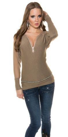 Jednoduchý pulóver v módnych farbách so zipsovým výstrihom