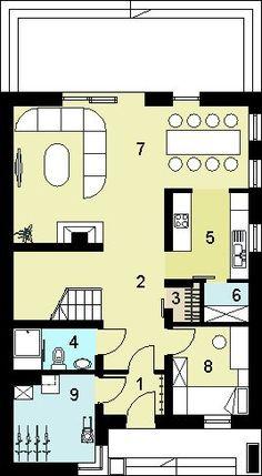 DOM.PL™ - Projekt domu HG-n3 CE - DOM AL1-80 - gotowy koszt budowy House 2, House Plans, Floor Plans, House Design, Flooring, How To Plan, Houses, Beauty, Wood Flooring