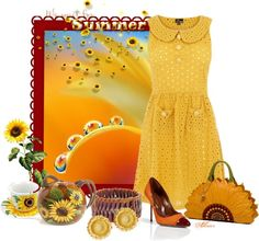 """""""Sunflowers!"""" by albaor ❤ liked on Polyvore"""