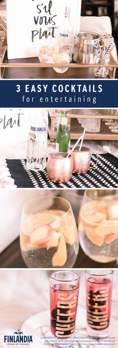 When it comes to creating the perfect last-minute get-together, this collection of 3 Easy Cocktails for Entertaining is here to help! No matter which one of these scrumptious sips you choose to make for your friends—a Peachy Vodka Soda, Easy Lemonade Mule, or the Berry-Good Mini Cocktails—each recipe uses Finlandia Vodka so you can be sure that they'll go over well!
