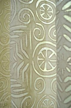 Layla Cotton Applique Curtain Panel Natural - Steel Paisley