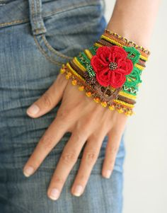 Greenyellowbrown+crochet+bracelet+with+red+flower+by+vdimova,+$43.00