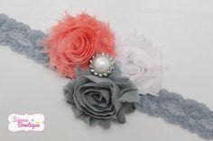 Grey & Coral Shabby Headband Baby Girl Shabby by SiennaBowtique, £7.00