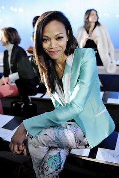 Zoe Saldana front row at Prabal...gorgeous, no? Photo by Nina Westervelt/MCV Photo