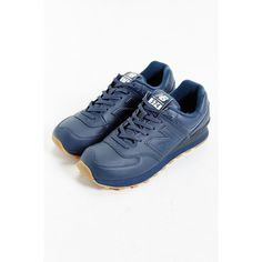 New Balance 574 Leather Gumsole Sneaker (105 CAD) ❤ liked on Polyvore featuring shoes, sneakers, navy, new balance footwear, navy blue leather sneakers, rubber sole shoes, navy blue sneakers e navy shoes