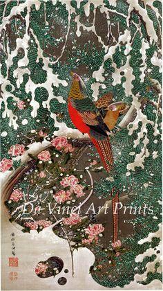 Japanese Art Print Golden Pheasants in Snow Fine Art Reproduction Japanese Woodcut, Art Chinois, Japan Painting, Art Asiatique, Art Japonais, Japanese Prints, Japanese Bird, Japan Art, Monet