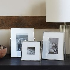 Picture Frame Display, Silver Picture Frames, Wedding Photo Table, Home Accessories Sale, Green Lounge, The White Company, White Gift Boxes, Photo Displays, E Design