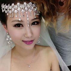 2014 HOT wedding tassel  bride hair accessory rhinestone indian bridal forehead jewelry sparkly hairstyles UK online $23.99