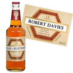 18th Birthday Personalised Bottle Of Beer Gift For Him 21 Experience Gifts