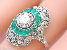 ESTATE ART DECO .96ct BRILLIANT DIAMOND .70ctw EMERALD PLATINUM COCKTAIL RING