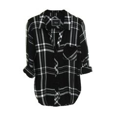 Rails Hunter Shirt in Black/White/Gray ($136) ❤ liked on Polyvore featuring tops, shirts, flannels, black, long sleeve tops, gray top, longsleeve shirt, black and white shirt and gray shirt