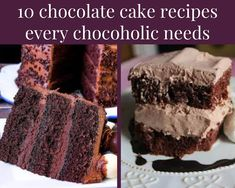 Is there anything better than chocolate cake for dessert? Yup, we can't think of anything either. If you think chocolate deserves its own food group (like we do), you need these 10 chocolate cake recipes in your life. Kahlua Chocolate Cake, Buttermilk Chocolate Cake, Kahlua Cake, Chocolate Desserts, Chocolate Chocolate, Chocolate Lovers, Easy Cakes To Make, Pecan Cake, Chocolate Delight