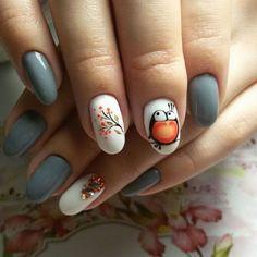 Winter Nails Designs - My Cool Nail Designs Bird Nail Art, Animal Nail Art, Flower Nail Art, Toenail Art Designs, Cool Nail Designs, Autumn Nails, Winter Nails, Cute Nails, Pretty Nails