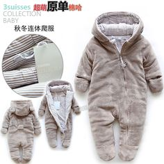Free shipping Retail new 2013 autumn winter romper baby clothes kids cotton bodysuits baby overalls newborn baby boy warm romper-inBoys from...