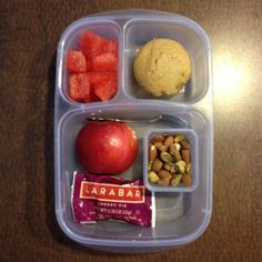 Watermelon, muffin, apple, Larabar, nuts #preschoollunch