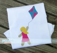 Girl Flying Kite Bean Stitch Applique Design