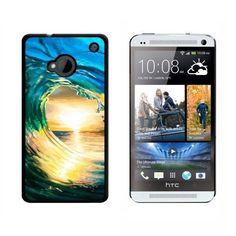Ocean Wave Surfer Sunset HTC One Case, Black