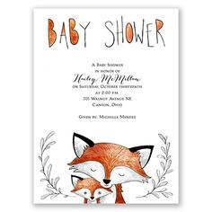Momma fox and baby fox baby shower invitation. Sketched watercolor, lovely details! From Invitations by Dawn.