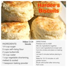 Hardee's Biscuit Recipe Bread Recipes, Baking Recipes, Copycat Recipes, Biscuit Bread, Cookies, Restaurant Recipes, Food To Make, Breakfast Recipes, Yummy Food