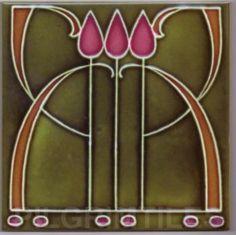 Art Nouveau stylised Ceramic Tiles  ref An44